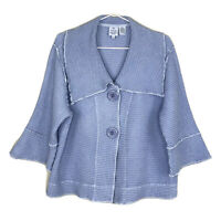 Focus Casual Lifestyle Collection Blue Waffle Weave Cardigan Jacket Womens Small