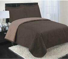 NEW RT Designers Collection 3-Piece Reversible Coverlet, King, Chocolate Brown