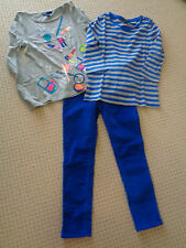 2 TOPS   GAP POP COMICS Grey Glam Top and Stripe Top Blue Cord Pants     7-8