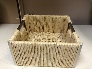 Square Maize Seagrass Woven Basket Tray with Metal Handles Storage Decor 11.5X6
