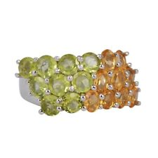 Natural Peridot Citrine Gemstone Ring For Womens Ring 925 Silver Jewelry US-8
