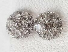 14k Solid White Gold 0.45 TCW Diamond Flower Cluster Stud Earrings 6 MM Unisex