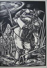 Rudolf Schiestl Der Teufel holt einen Bauern Orig. Holzschnitt 1926
