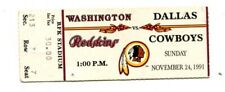 1991 Dallas Cowboys @ Washington Redskins 11/24/91 Ticket