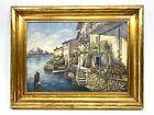 Vintage Impressionist Framed Oil Painting•Lake Lugano Switzerland Ovid Kent