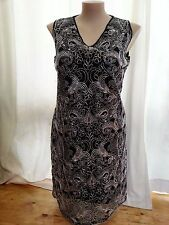 BLACK  Silver metallic floral Lace Over Shift Dinner party celebration DRESS 20