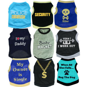 Boy Dog Clothes Vest T-shirt Pet Clothing X Small to Medium for Teacup Chihuahua