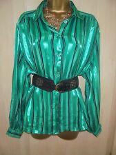 Stunning vtg Gloss satin  governess secretary shirt blouse  cd/tv size 20