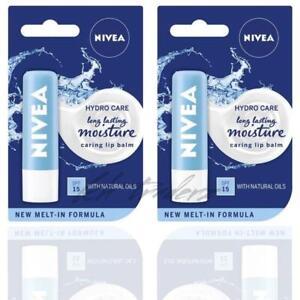Nivea Hydro care Long Lasting Moisturising Lip Balm Stick 4.8g SPF 15 PACK 2