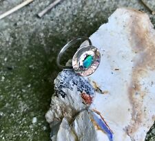 Handmade Vivid Green/Blue Solid Opal Circle of Life Ring SterlingSilver Size L.5