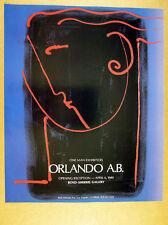 1989 Orlando A.B. ab One Man Exhibition poesia painting art vintage print Ad
