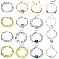 Fashion Gold Women's Rhinestone Crystal Bracelet Adjustable Bangle Cuff Jewelry