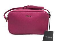 FURLA Lilli Saffiano Leather Crossbody Double Zip Pouch Handbag Pink Gloss NWT