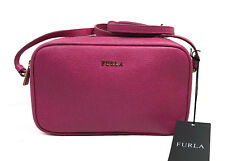 FURLA Lilli Saffiano Leather Crossbody Double Zip Pouch Handbag Pink Gloss NWT