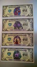 2013 D Series - Disney Dollar 4 note set Villains W/ Error Cruella  NEW