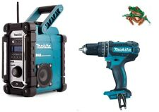 MAKITA DMR104 DAB JOB SITE RADIO & DHP482 COMBI DRILL BODY 18V