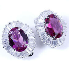 OverSized Oval Red Ruby & CZ Baguettes Silver Clip Back Earrings 2.2cm