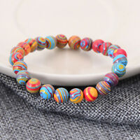 6mm 8mm 10mm Men Women Natural Stone Colorful Charm Luck Xmas Stretch Bracelets