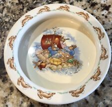 Royal Doulton Bunnykins Round Baby Plate / Porridge Bowl - Rafting - Near Mint