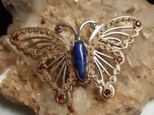 Carolyn Pollack Relios Mixed Metals Lapis Citrine Large Butterfly Slide Pendant