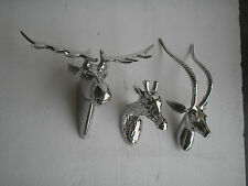 Metal Wall Mounted Deer Moose & Giraffe Head set of 3 pcs Stag Head Sculpture f