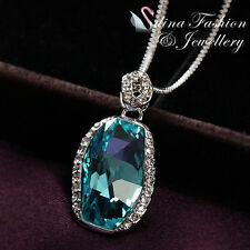 18K White Gold GP Made With Swarovski Crystal Irregular Cut Aquamarine Necklace