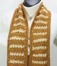 MEO CROCHET SCARF 73 X 7 CREAM & GOLDENROD HOUNDSTOOTH WOOL BLEND UNISEX KNIT