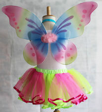 "18""x19"" Kids Teens Adults Rainbow Glitter Butterfly Fairy Wings Party Costume"