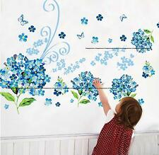 Hydrangea Blue Vine Blossom Elegant Vintage Butterfly Wall Stickers Decal LOUNGE