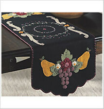TUSCAN Fruit Pears Grapes FELT TABLE RUNNER KIT ~ NEW