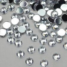 1000 Crystal Flat Back Rhinestones Diamond Gems Acrylic many sizes & colours