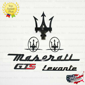 Maserati Emblem Levante GTS Grille Trident Side Logo Black Badge Set Sticker Kit