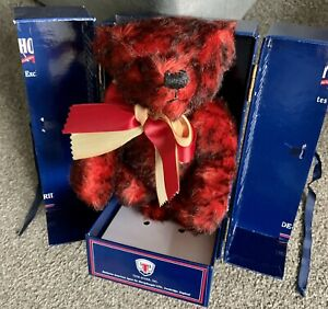 """MERRYTHOUGHT """"Sunberst"""" Red Mohair Teddy Bear in a Trunk LE Excellent Boxed Coa!"""