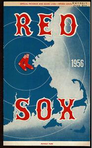 1956  BOSTON RED SOX vs DETROIT TIGERS  baseball program