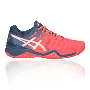 Asics Womens Gel-Resolution 7 Clay Tennis Shoes Orange Sports Breathable
