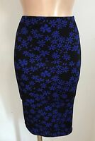 BLACK BLUE FLORAL CASUAL PENCIL TUBE WIGGLE STRETCH MIDI SKIRT SIZE 10-18