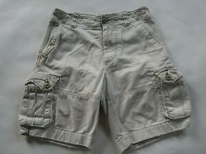 Abercrombie Boys Heavy Cotton Solid Beige Cargo Khaki Chino Shorts Youth Size 12