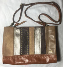 SAK Leather Striped Multi-Color Crossbody Bag Metallic Brown Glitter Gold Studs