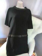 Awesome 100% Black CASHMERE Pyramid Studs Embellished Sweater Dress sz S  LNC