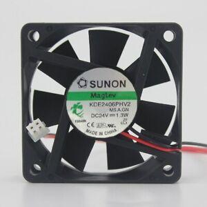 2pcs Sunon KDE2406PHV2 6015 60mm DC 24V 1.3W maglev IPC axial cooling fans