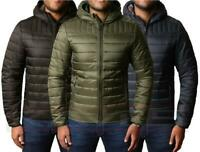 Mens Padded  Jacket Coat Quilted Hooded Warm Winter Threadbare TERRIER