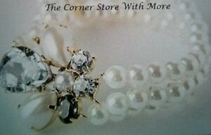 Faux Pearl and Crystals 3 Row Cuff Bangle Bracelet Deb Wedding *STORE SALE*