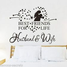 Wall decal stickers husband wife best friends for life wedding bedroom new DC31