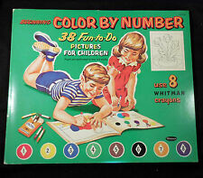 Coloring Book, COLOR BY NUMBER Unused Large Whitman Mid-Century 1960