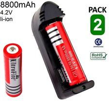 2x PILA 18650 BATERIA RECARGABLE 8800mAh LI-ION 4,8V + cargador POWER BANK