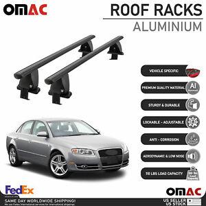 Fits Audi A4 Sedan 2005-2008 Smooth Top Roof Rack Cross Bar Carrier Rail Black