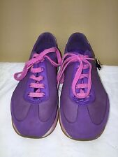 Crocs girl  lace up  Sneaker Tennis Shoe Sz Youth 3 purple/pink  pre-owned