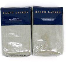 Ralph Lauren Annandale Noland Linen Green Fringe Euro Pillow Sham Set Of Two