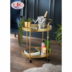 Deco Glamour Drinks Trolley Two Mirrored Shelves Eye Catching Gold With Castor