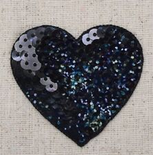 "Large Black 2"" Sequin Heart - Valentine - Iron on Applique/Embroidered Patch"
